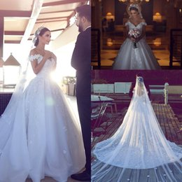 Wholesale Off White Bridal Veils - Luxury Charming Off the Shoulder 3D Floral Appliques Wedding Dresses With 3 meters Wedding Veil Lace Handmade Flower Bridal Gowns Custom