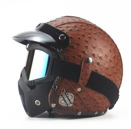 Wholesale Motorcycle Open Face Dot Helmet - Black Adult Leather Harley Helmets For Motorcycle Retro Open Half Cruise Prince Motorcycle Face Mask Detachable Goggles DOT Helmets