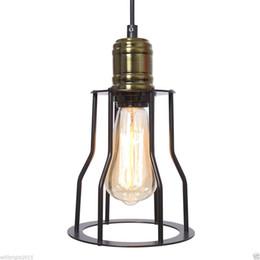 Wholesale Vintage Fluorescent Ceiling - Metal Black Cage Iron Vintage Retro Edison Lampshade Ceiling Pendant Lamp