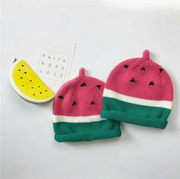 Wholesale Watermelon Hat Girls - Hats Wholesale Ins New watermelon baby Crochet Knit Hat Autumn Winter boys Girls Knitted Beanie Hat Hand Knitted Caps Toddler Beanies A1050