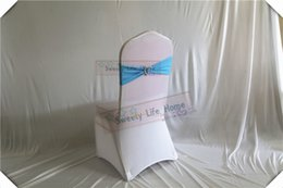 Silla azul cielo online-Envío gratis 100 unids Sky blue color Chair Bands banquete Spandex silla Sash Stretch Lycra silla arcos con sillver corazón hebilla