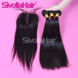 Wholesale Brazilian Straight Closures - 6a Hot Sale Brazilian Malaysian Peruvian Indian Silky Straight Bundles Human Hair 3pcs hair weft with Lace Top Closure(4X4)