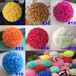 Dekorieren küssen bälle online-16 Color Artificial Flowers Rose Balls Kissing Ball Decorate Flower Wedding Party Garden Market Party Decoration Christmas Gift HH7-167