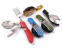 Wholesale Camping Knife Fork Spoon - New Arrive Multi-function Outdoor Camping Picnic Tableware Stainless Steel Cutlery 4 in 1 Folding Spoon Fork Knife&Bottle Opener