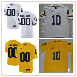 Wholesale Black People - Michigan Wolverines College Football #9 Donovan Peoples-Jones 10 Devin Bush 17 Tyrone Wheatley White Yellow Navy Stitched Jersey S-3XL