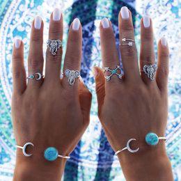 anillos tibetanos de la joyería de la turquesa Rebajas Vintage azul turquesa aleación de plata tibetano tallado Totems anillos conjunto Lucky Punk joyería de las mujeres