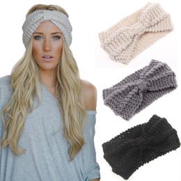 Wholesale Leather Turban - Hot selling Women Lady Crochet Bow Knot Turban Knitted Head Wrap Hairband Winter Ear Warmer Headband Hair Band Accessories
