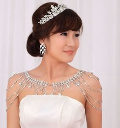 Wholesale Classic Headgear - Free shipping hot sell bridal jewelry fashion diamond tassel shoulder chain headgear bridesmaid shawl wedding accessories shuoshuo6588