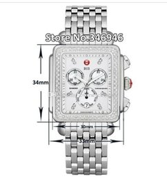 Wholesale Bracelets Modern - Luxury watches Stainless steel bracelet Michele Deco Diamond Chronograph Day Date Fully Function Quartz Watch Fashion Women's Dress Watches