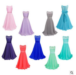 Wholesale Chiffon Tops For Kids - Children Lace Chiffon Big Girls Pageant Dress Kids Dresses for Girls Clothes Sleeveless Maxi Flower Girl Dress Princess Dress Top Quality