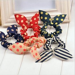 Wholesale Fabric Ponytail Holders - Wholesale new 2016 original head flower hair accessories headdress Korea trinkets rabbit ears Fabric Polka Dot rubber band hair rope ring