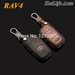 Wholesale Leather Key Fob Covers - 2014 2015 Toyota Rav4 Rav 4 Car Keychain Genuine Leather Carve Car Key Case Fob Cover Remote Car Key Chain Ring Auto Accessories