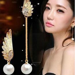 Wholesale Pearl Wing Ring - Fashion Women Elegant Wings Rhinestone Ear Stud Gold Plated Dangle Earrings Jewelry Asymmetric Angel Wings Earing Pearl Earring Ear Ring Acc