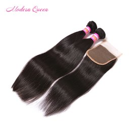 Wholesale Cheapest Weave - 7A mink Peruvian straight human hair bundle lace closure Cheapest Peruvian human hair 2 bundles with 1 lace closure peruvian straight weave