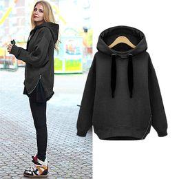 Wholesale Ladies Coat Zipper Hood - Fashion Women Tracksuits Side Zipper Hoodies Sweatshirt Europe Loose Lady Winter Casual Sweater Coat Clothes with Hood C03