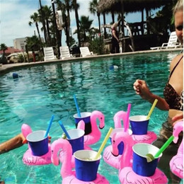 Wholesale Inflatable Cartoon Toys - Inflatable Flamingo Drinks Cup Holder Pool Floats Bar Coasters Floatation Devices Children Bath Toy 2017092118