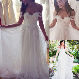 Wholesale Sweetheart Princess Beach Wedding - 2017 Off Shoulder Wedding Dresses Ivory Tulle A-line Pleats Sweetheart Summer Beach Bridal Gowns Reception Simple Robes De Mariage