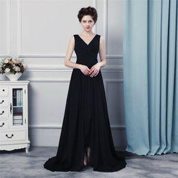 Wholesale Designer Chiffon - Long Evening Gowns Vestido Mae Da Noiva 2017 Sexy Split Black Chiffon Prom Dress Women Evening Dresses