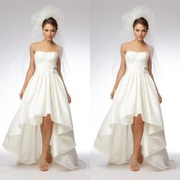 Wholesale Short Taffeta Wedding Dress Sweetheart - Sweetheart High Low Wedding Dresses Cheap Ruched Bodice A Line Front Short Long Back Ivory Taffeta Beach Bridal Gowns with Delicate Flowers