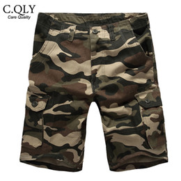 Wholesale Mens Cotton Overalls - Wholesale-2016 New Camouflage Shorts Men Military Army Camo Mens Cargo Shorts Loose Cotton Multi Pockets Overalls Casual Short Plus size