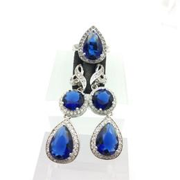 Wholesale Women Blue Topaz Wedding Ring - Deep Blue Gems Flower Style Topaz Sterling Silver 925 jewelry Sets For Women Silver Drop Earrings Rings Free Jewelry