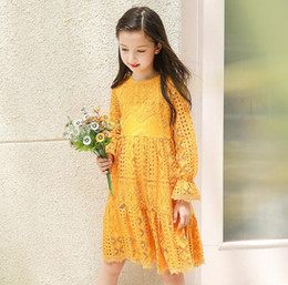 Wholesale Girls Crocheted Dresses - Girls Flower Dresses Baby Girls Crochet Lace Dresses Kids Girls princess Long sleeve Dress 2017 Kids Autumn Clothing