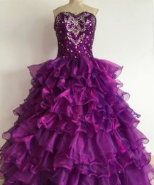 Wholesale Beaded Ball Gown Prom Dresses - In Stock Sweetheart Quinceanera Dresses 2015 Ball Gown Beaded Sequins Ruffles Purple Organza Quinceanera Gowns Prom Dresses High Quality