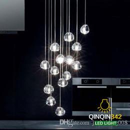 Pingentes de vidro claro moderno on-line-Moderno claro / ouro esfera de cristal de cristal lustre g4 3 5 7 15 26 cabeça pingente lâmpada Meteor Chuva luz de teto base de aço inoxidável