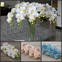 """Wholesale Christmas Ornaments Flowers - 78cm 30.71"""" Length blue Phalaenopsis silk Butterfly Orchid flower for Christmas Home Ornament Party Decorations supplies 10pcs lot"""