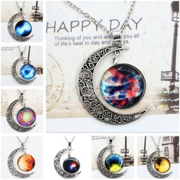 Wholesale Slide Necklace Mix - 2016 New Vintage starry Moon Outer space Universe Gemstone Pendant Necklaces Mix Models