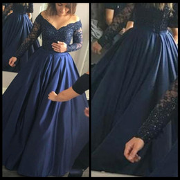 Wholesale Amazing Party Dresses - Party Dress Navy Blue Satin Lace Beading Long Sleeves Amazing Prom Dresses Vintage V Neck A line Evening Dress 2017 Special Occasion Gowns