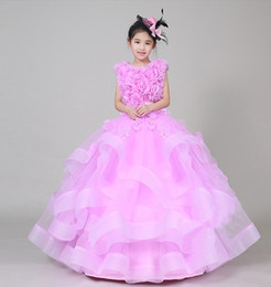 Wholesale Girls Brown Pink Clothes - High Quality Free Shipping New 2018 Girls Dress Skirt Pink Girl Piano Performance Catwalk Dress Children's Clothing Pompon Skirt Dresses