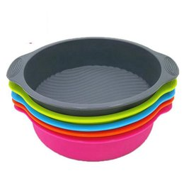 Wholesale Stencils Cakes - 9 inch Round Cake Pan Silicone Mold Bakeware Stencils Cake Baking Dish Kitchen Baking Moulds Tools For Cakes Pastry Accessories OOA3505