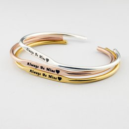 Wholesale Gold Wedding Ideas - GORGEOUS TALE ALWAYS BE MINE Personalized Bangle bracelet Handmade Letter Charm Jewelry Love idea BFF Rose Gold Bridesmaid gift