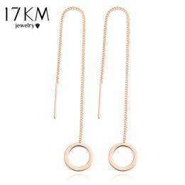 Wholesale Bar Drop Earrings - 17KM Vintage Punk Silver Color Long Tassel Dangle Earrings for Women Gold Color Alloy Round Drop Bar Statement Jewelry