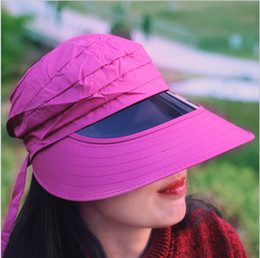 Wholesale Ladies Visors Wholesale - The new size can be adjusted to support wholesale Ladies Day summer tide sun hat UV protection lens visualization beach empty top hat