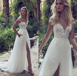 Wholesale Petite Wedding Gowns - A-Line Lace Wedding Dresses 2018 Sheer Illusion Bodice Jewel Court Train Vintage Garden Beach Boho Party Bridal Gown
