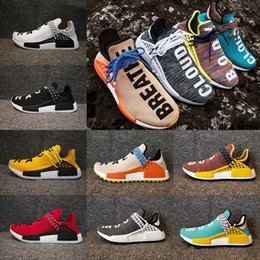 Wholesale Factory Big Man - Big size Human Race NMD Factory Real Boost Yellow Red Green Black Orange NMD Men Pharrell Williams X Human Race Running Shoes Sneakers