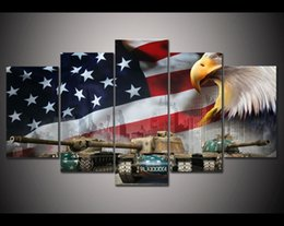 Wholesale Flag Frame - Wholesale New style World of Tanks Tank Eagles USA Flag Painting On Canvas Art Modern Home decor Picture For Living Room No Frame