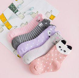 Wholesale Korean Fast Ship - Cheap Baby socks 2016 fashion girls cat dots socks Sweet Colorful Boneless children baby socks Korean 2016 Fall winter gifts fast shipping