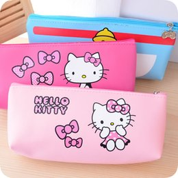 hello kitty pencils wholesale Promotion Vente en gros-1 Pcs. Bande dessinée kawaii Hello Kitty crayon stylo sac affaire cosmétique maquillage sac Wash Pouch Gift.Storage Bags Holder.Free expédition