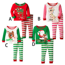 Wholesale Free Children Clothing - Boy girl Christmas elk stripe Pajamas sets Free DHL 2016 new children Cotton cartoon stripe long Sleeve + Pants 2pcs Suits baby clothes B001