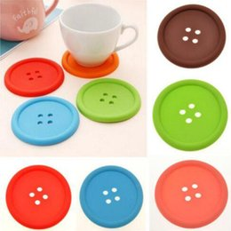 Wholesale Chinese Glass Mug - Wholesale-1XSilicone Coffee Placemat Button Coaster Cup Mug Glass Beverage Holder Pad Mat
