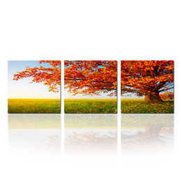 Wholesale Triptych Abstract Paintings - Red Maple Canvas Wall Art Triptych Prints Trees Landscape Picture Prints for Home Decor Artwork Canvas Set of 3