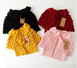 Wholesale Girls Short Knit Cardigan - 2016 New Autumn Winter Girls Knitted Cardigan Sweaters Children Pineapple Capes Shawls Kids Ruffles Jackets Outwear Girl Poncho Coats