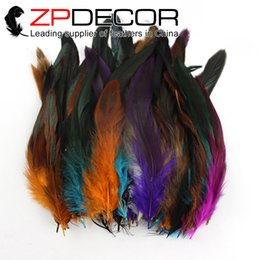 Wholesale Dyed Feathers Wholesale - ZPDECOR 10-15cm(4-6 inch) Handcraft Dyed Mix Colored Half Bronze Rooster Coque Feathers for Bulk Sale