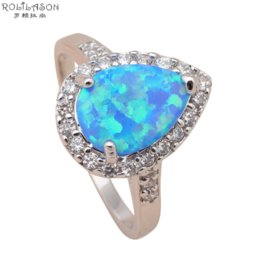 Wholesale Fire Horn - Delicate water drop style Blue fire Opal Silver Stamped Zirconia Rings fashion jewelry USA size #6.5 #7.5 #6.75 #7.75 OR440A