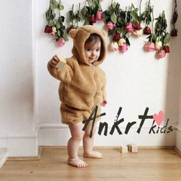 Wholesale Winter Fur Outfits - Kids fur faux outfits baby girls boys fleece bear ear hooded zipper outwear+bloomers 2pc sets Ins toddler winter warm clothing coat T0746