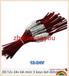 2019 conectores de arame YON 100 pcs dc12v 24 v 6A mini 3 teclas led dimmer 12 v controlador para controlar única cor luz de tira smd 3528 5050 5630 frete grátis