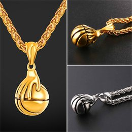 Wholesale Men Basketball Necklace - U7 Jewelry Basketball Pendants Necklace Bounce The Ball Design Sports Fashion 18K Gold Plated Stainless Steel Chain Men Bijoux GP2690